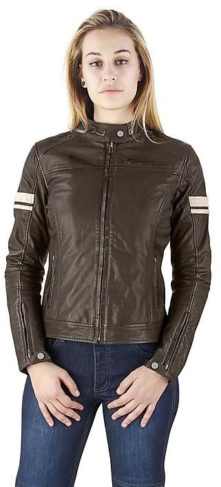 Giubbotto Moto OJ In Pelle Donna mod. MYTHOS Lady Marrone Tg. S