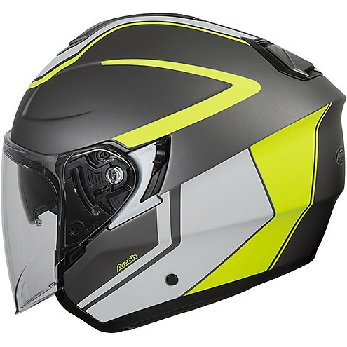 Casco jet Airoh Hunter Soul in fibra Antracite Opaco giallo fluo TG. XS
