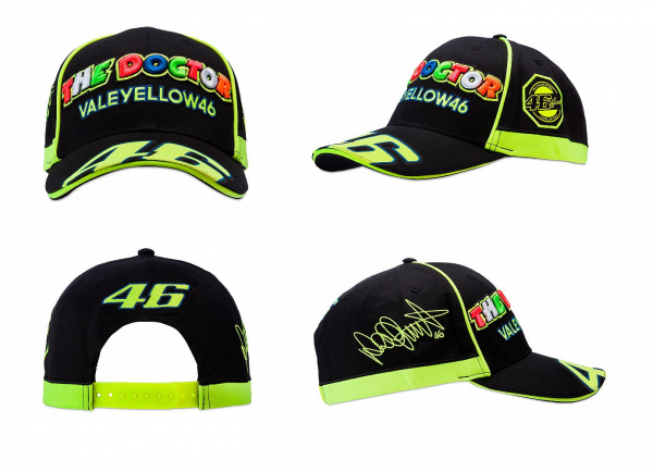 CAPPELLINO BERRETTO VR46 VALE YELLOW THE DOCTOR NERO  TG. UNICA