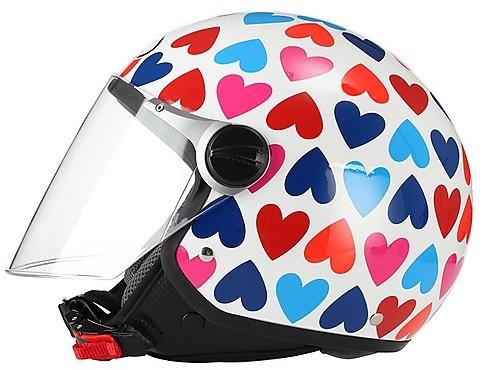 Casco moto DEMI JET  Con Visiera Lunga BHR 710 Colorazione Cuori TG. XS