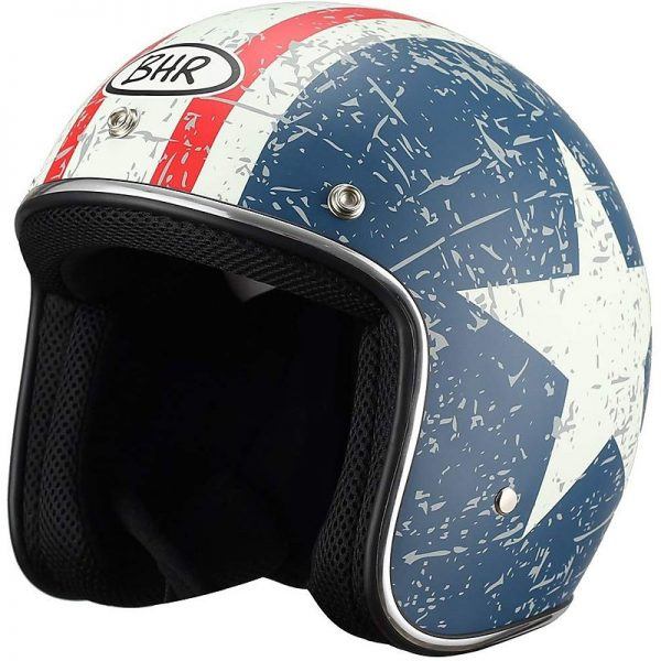Casco Moto Jet Custom BHR 711 Retrò Star Opaco
